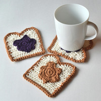Peanut Butter & Jelly Coasters, Set of 4 or 6, PB and J Decor, Gift Wrap in Sheer White Organza Bag Available