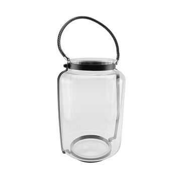 "18"" Clear Glass Hurricane Candle Holder Lantern with Jet Black Metal Frame"
