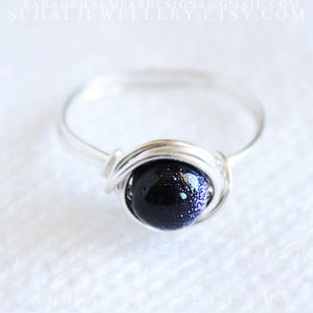 Sterling Silver Galaxy Ring, wire wrapped ring, handmade jewelry, unique ring