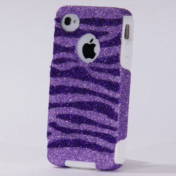 iPhone 4 Case - iPhone 4 Otterbox Case - Sparkly Glitter Otterbox Orchid/Purple Zebra Stripes - iPhone 4S Case