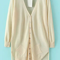 Beige V- Neckline Button Down Asymmetrical Knit Cardigan