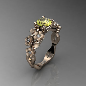 Nature Inspired 14K Rose Gold 1.0 Ct Yellow Topaz Diamond Floral Engagement Ring R1022-14KRGSDYT
