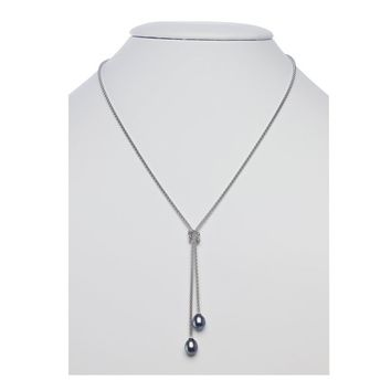 Sterling Silver Black Freshwater Pearl Y Necklace - 16 Inches