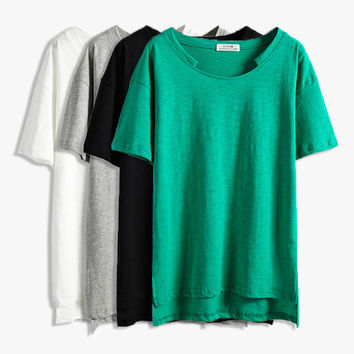 Loose Womens Cotton Solid T Shirt
