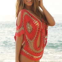 Red and Metallic Gold Knit Cover-Up - Chynna Dolls