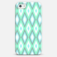 Mint and Turquoise Ikat Pattern iPhone 5s case by Organic Saturation | Casetagram