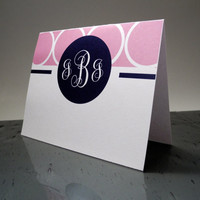 "Custom Monogrammed Stationary 5.5"" x 4.25"" - Pink - Navy - Circles - Pattern - Girl - Note - Letters - Free envelopes"