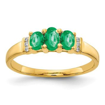 14k Yellow Gold Ovel Triple Emerald And Diamond Ring
