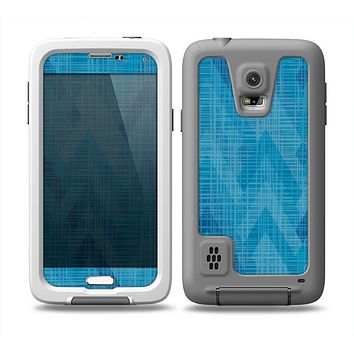 The Woven Blue Sharp Chevron Pattern V3 Skin Samsung Galaxy S5 frē LifeProof Case