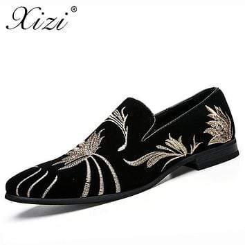 XIZI brand Men's embroidery formal Shoes Male Casual Pointed Toe Flat shoe Men fashion Black leather Driving Flats dress shoes