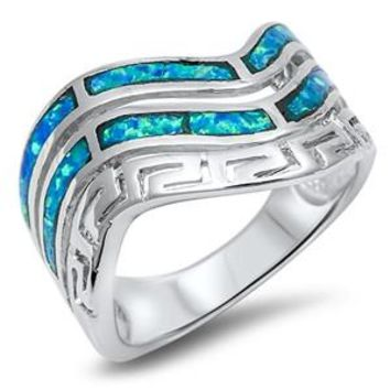 Sterling Silver Curved Shape and Greek Pattern Ring 15MM Blue Lab Opal