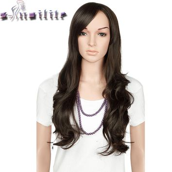 S-noilite 22 inches Nature Wave Synthetic Non Lace Front Wigs Soft Glueless Heat Resistant Fiber Full Head Wig For Women