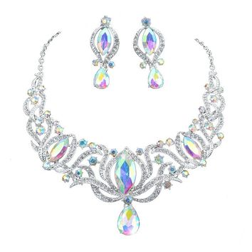 High quality india style silver Jewelry sets bridal necklace earrings set women wedding party AB color jewelry accessories