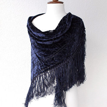 Scarf with tassel, Navy blue scarf, Women Fashion Accessories Gift Ideas For Her