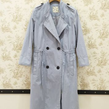 Military style trench coats with elastic waist powder blue