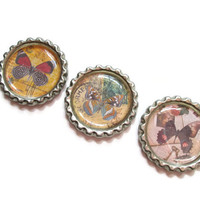 Vintage Inspired Butterfly Magnets - Set of 3 Butterfly Bottle Cap Magnets