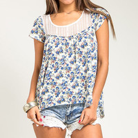 Blue Floral Sidetail Top   zulily