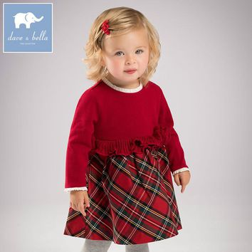 Dave & Bella Red Plaid Sweater Dress