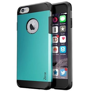 iPhone 6 Case, Zeox [Hybrid Tough] Dual Layer Protective Armor Case for iPhone 6 (4.7-Inch)-iPhone 6 Cover with Shock Absorptive Inner Layer/Polycarbonate Hard Back Case- Retail Packaging - Teal