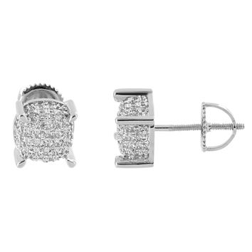 Cluster Set Earrings Lab Diamonds 14K White Gold Finish Simulated Diamonds Screw Back