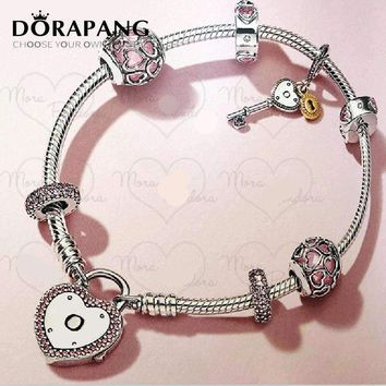 DORAPANG 2018 Valentine's Day Newest 925 Sterling Silver Bracelet Red Heart shaped Charm Bead for Women Fashion Bangle Jewelry