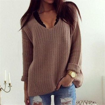 Women's V Neck Long Sleeve Loose Pullover Sweater Retro Style Winter Clothings Knitted Sweater