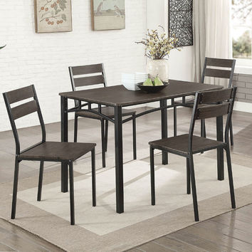 Furniture of america CM3920T-5PC 5 pc Westport antique brown finish wood dining table set