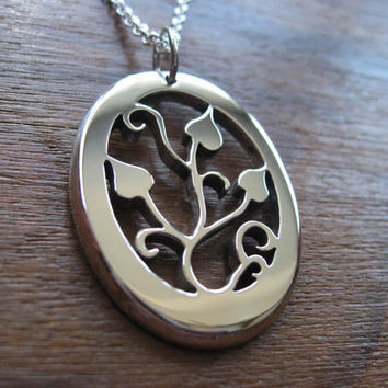 Handmade Silver Ivy Pendant Necklace