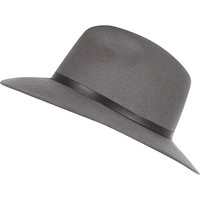 River Island Womens Grey leather-look trim fedora hat