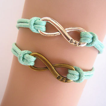 Antiqued Karma Bracelet , Infinity Bracelet, Mint Green Rope, BFF Best Friends, Personalized Bridesmaid Jewelry, Unique Friendship Gift