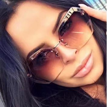 2018 Luxury Vintage Rimless sunglasses women Brand Designer Oversized sunglasses Female sun glasses for lady Mirror Shades UV400