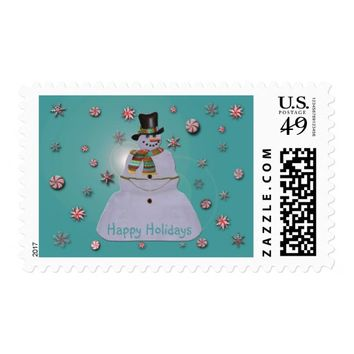 Blue Haze Snowman Happy Holidays Postage