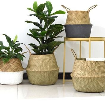 Rattan Straw/Wicker Folding Seagrasss Flower Pot Baskets