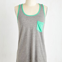 Athletic Mid-length Sleeveless You've Got it Badminton Top in Grey