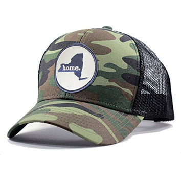 Homeland Tees Men's New York Home State Army Camo Trucker Hat - Navy