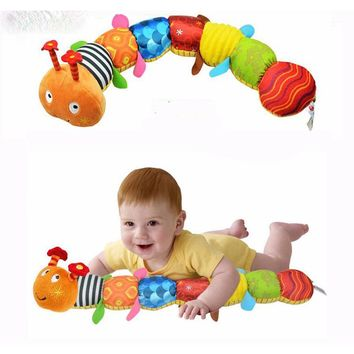 2017 Baby Toys Musical Caterpillar Educational Toys With Ring Bell Stuffed Plush Animal Kids Toys Baby Rattles Mobiles 55cm