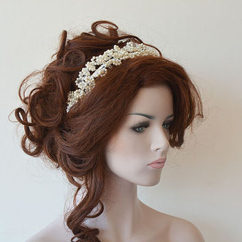 Marriage  Bridal Hair Crown, Wedding Ivory Pearl Tiara, Wedding Headband, Wedding Crown,  Bridal Hair Accessory, Wedding hair Accessory