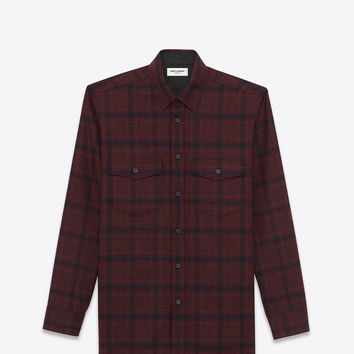 Saint Laurent Oversized Shirt In Bordeaux And Black WOOL Plaid | ysl.com