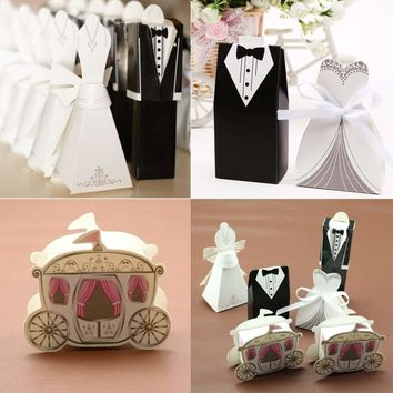 50-200pcs Groom Bride Carriage Box Wedding Party Favor Bomboniere Candy Boxes
