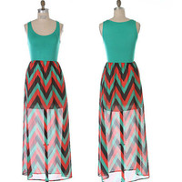 Jade Red Black Chevron Chiffon Maxi Dress