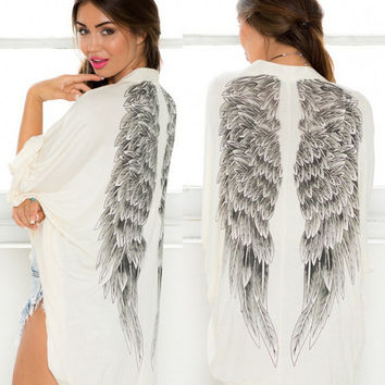 Womens Wings Print Cardigan Coat Gift 51