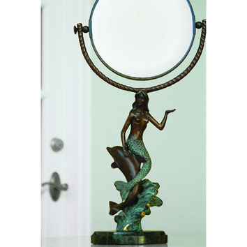 SPI Mermaid and Dolphin Swivel Mirror
