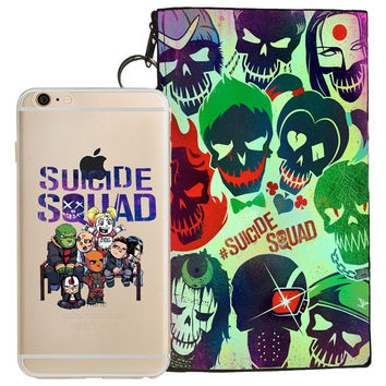 Suicide Squad Jelly Clear Case For Apple Iphone 6/6s + Pouch