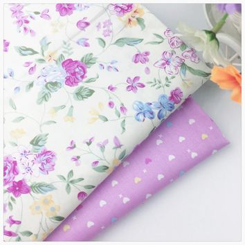 Purple Design Diy cotton fabric tissue an meter tecido for dress baby bedding textile cloth sewing patchwork quilting syunss