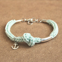 Mint anchor bracelet, mint nautical bracelet, knot bracelet
