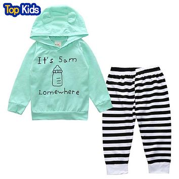 Newborn Baby Girl Boy Clothes Long Sleeve Hooded Blue Bottles Tops T-shirt Striped Pants Leggings Outfits Set