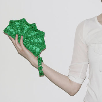 Emerald Green Crochet Shell Clutch
