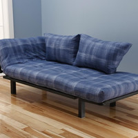 Hennepin Contemporary Daybed Futon Lounger with Black Metal Steel Frame, Includes Two Pillows, Cool Runnings