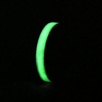 Carbon Fiber Wedding Band or Ring Bright Green Ultra Glow in the Dark Inlay