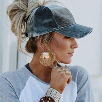 Messy Bun Baseball Cap - Gray Velvet